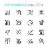 Ícones perfeitos do pixel do mercado do App Foto de Stock