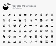 60 ícones perfeitos do pixel dos alimentos e das bebidas Fotografia de Stock Royalty Free