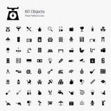 80 ícones perfeitos do pixel dos objetos Fotos de Stock Royalty Free