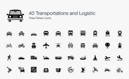 40 ícones perfeitos do pixel logístico dos transportes Foto de Stock