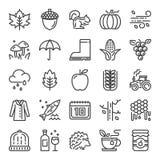 Ícones perfeitos do pixel do outono Imagem de Stock