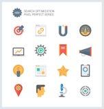 Ícones perfeitos do plano de serviços do pixel SEO Fotos de Stock Royalty Free