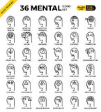 Ícones perfeitos mentais & da mente do pixel do esboço Foto de Stock Royalty Free