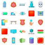 Ícones perigosos ajustados, estilo do hacker dos desenhos animados ilustração royalty free