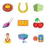 Ícones perigosos ajustados, estilo do passatempo dos desenhos animados Foto de Stock Royalty Free