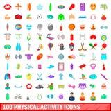 100 ícones phisical ajustados, estilo da atividade dos desenhos animados Foto de Stock