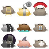 Ícones Piggy ajustados Imagens de Stock