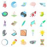 Ícones pioneiros ajustados, estilo do trabalho dos desenhos animados Imagem de Stock
