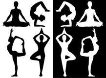 Ícones praticando da ioga da mulher ilustração do vetor