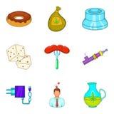Ícones prejudiciais ajustados, estilo dos desenhos animados Foto de Stock