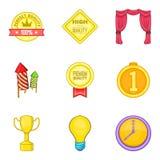 Ícones premiados super ajustados, estilo dos desenhos animados Fotografia de Stock Royalty Free