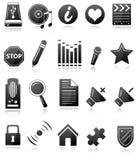 Ícones preto e branco Fotos de Stock