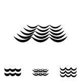 Ícones preto e branco da onda Imagens de Stock