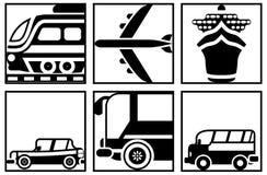 Ícones preto e branco de todos os tipos do transporte Foto de Stock Royalty Free