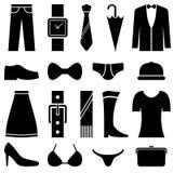 Ícones preto e branco de vestuário Imagens de Stock Royalty Free