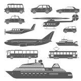 Ícones preto e branco detalhados do transporte ajustados Fotografia de Stock