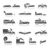 Ícones preto e branco do acidente de viação ilustração stock