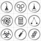 9 ícones preto e branco do círculo da ciência Imagem de Stock