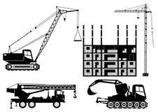 Ícones preto e branco do vetor dos guindastes de construção ilustração royalty free