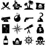 Ícones preto e branco dos piratas Fotografia de Stock Royalty Free