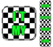 Ícones preto e branco e verdes Imagens de Stock Royalty Free