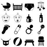 Ícones preto e branco recém-nascidos Fotos de Stock