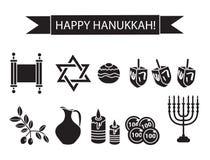 Ícones pretos ajustados da silhueta do Hanukkah Fotos de Stock