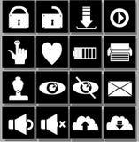 Ícones pretos brancos Imagens de Stock