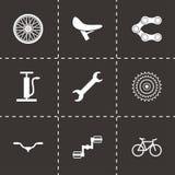 Ícones pretos da bicicleta do vetor ajustados Imagens de Stock Royalty Free
