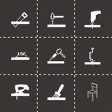 Ícones pretos da carpintaria do vetor ajustados Imagens de Stock Royalty Free