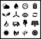 Ícones pretos da ecologia | grupo do ícone do vetor Fotografia de Stock