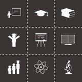 Ícones pretos da educação do vetor ajustados Fotografia de Stock Royalty Free