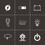 Ícones pretos da eletricidade do vetor ajustados Imagem de Stock Royalty Free