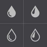 Ícones pretos da gota do vetor ajustados Fotografia de Stock