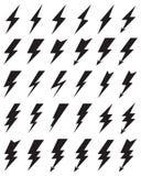 Ícones pretos da iluminação do trovão ilustração do vetor