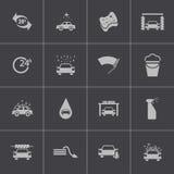 Ícones pretos da lavagem de carros do vetor ajustados Imagens de Stock