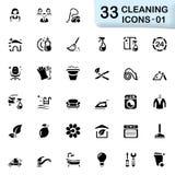 33 ícones pretos 01 da limpeza Fotografia de Stock Royalty Free
