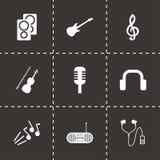Ícones pretos da música do vetor ajustados Imagens de Stock Royalty Free