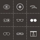 Ícones pretos da optometria do vetor ajustados Imagens de Stock