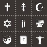 Ícones pretos da religião do vetor ajustados Imagens de Stock Royalty Free