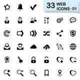 33 ícones pretos 01 da Web Fotografia de Stock