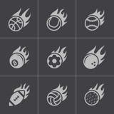Ícones pretos das bolas do esporte do fogo do vetor ajustados Foto de Stock Royalty Free