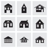 Ícones pretos das construções do vetor ajustados Imagens de Stock Royalty Free