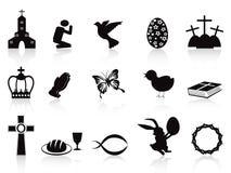 Ícones pretos de easter ajustados Fotografia de Stock