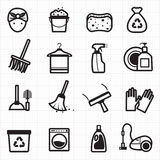 Ícones pretos de limpeza Fotografia de Stock