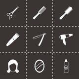 Ícones pretos do barbeiro do vetor ajustados Imagem de Stock