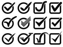 Ícones pretos do botão da marca de verificação Fotografia de Stock Royalty Free