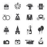 Ícones pretos do casamento Imagem de Stock Royalty Free