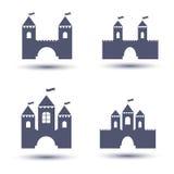 Ícones pretos do castelo ajustados Foto de Stock Royalty Free