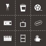 Ícones pretos do cinema do vetor ajustados Foto de Stock